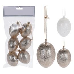 Veľkonočná dekorácia - vajíčka MIX Glitter 6 cm, 6ks