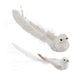 Vták na klipe 17 cm - biely, sada 2ks