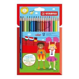 Farebné ceruzky, šesť-hranné, STABILO, 18 rôznych farieb