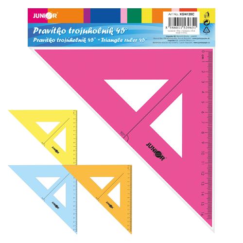 Pravítko trojuholník s ryskou 16 cm, transparentné/farebné na blistri