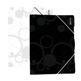 Odkladacia mapa PP 3-chlopňová s gumou A4, čierna (Black&White)