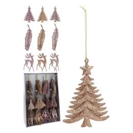 Vianočná ozdoba - PP ružovo medená - rôzne tvary 16 cm, mix/1ks