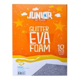 Dekoračná pena A4 EVA 10 ks strieborná hrúbka 2,0 mm glitter