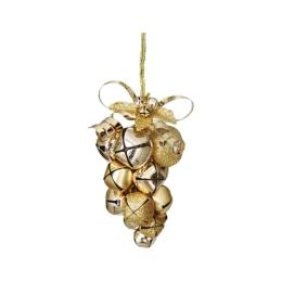 Dekorácia závesná - zlaté hrozno z rolničiek 10 cm, 1ks