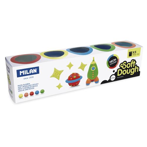 Plastelína MILAN Soft Dough neónové farby - sada 5 ks