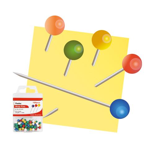 Špendlíky mapové/farebné FOSKA, 17 mm/100 ks, pp box
