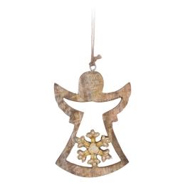 Vianočná ozdoba - drevená, anjel s korálkami 15 cm, 1ks