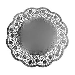 Krajky dekor. okrúhle 32 cm strieborné  (4 ks v bal.)