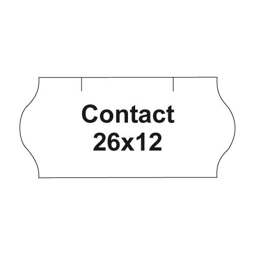 Etikety cen. CONTACT 26x12 oblé - 1500 etikiet/kotúčik, biele