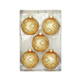 Vianočné gule - sklenené 67 mm/zlaté, sada 5ks