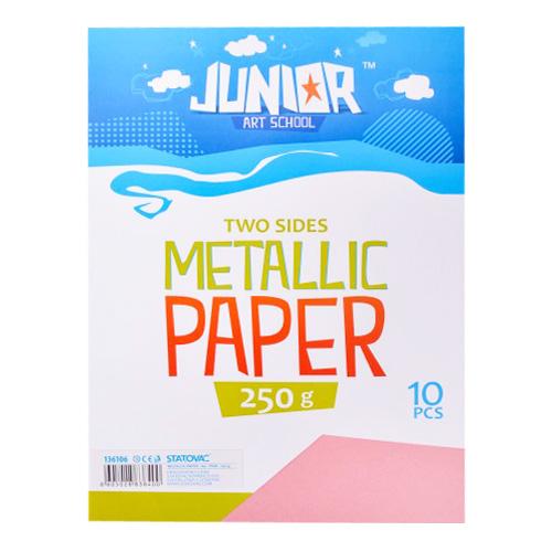 Dekoračný papier A4 Metallic ružový 250 g, sada 10 ks