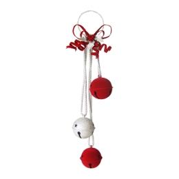 Dekorácia závesná - Rolnička červeno/strieborná 60 cm, 1ks
