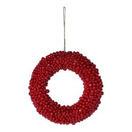 Dekorácia závesná - Veniec z červených bobúľ 28 cm, 1ks
