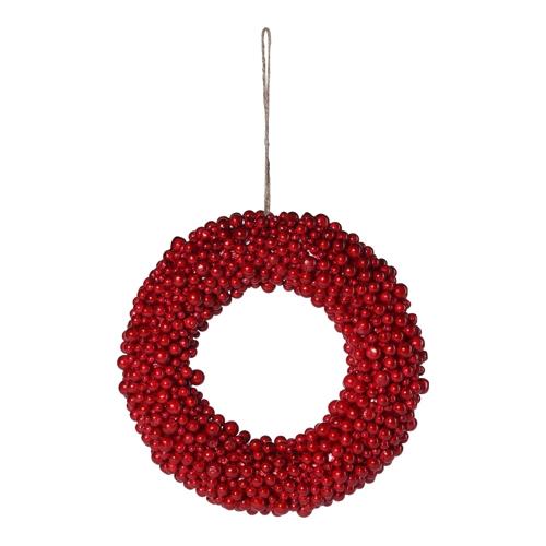 Dekorácia závesná - Veniec z červených bobúľ 28 cm