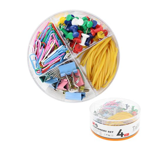 Kancelárska sada M&G 4v1 pripináčiky/binder clip/spony/gumičky, sada farebná 200 ks