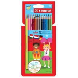 Farebné ceruzky, šesť-hranné, STABILO, 12 rôznych farieb