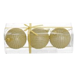 Vianočná guľa - PS 80 mm/zlatá glitter, sada 3ks