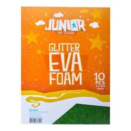 Dekoračná pena A4 EVA Glitter zelená 2.0 mm, sada 10 ks