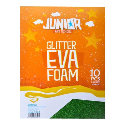 Dekoračná pena A4 EVA Glitter zelená 2,0 mm, sada 10 ks