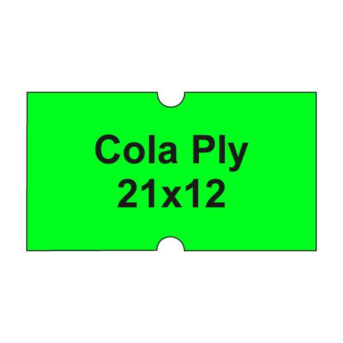 Etikety cen. COLA PLY 21x12 hranaté - 1250 etikiet/kotúčik, zelené