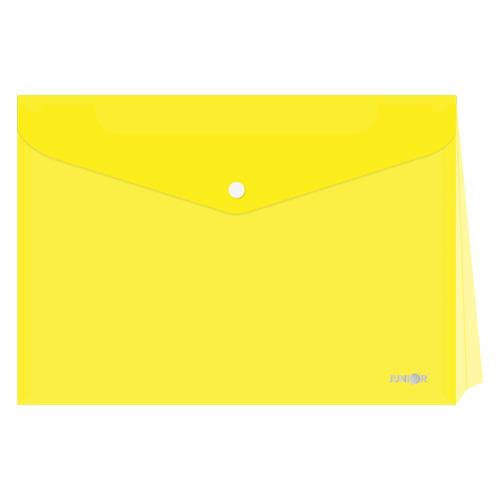 Obal s patentkou - rozšíriteľný PP/A4, priehľadný/žltý