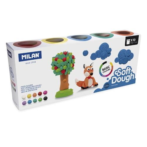 Plastelína MILAN Soft Dough základné farby - sada 10 ks