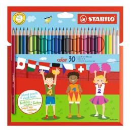 Farebné ceruzky, šesť-hranné, STABILO, 30 rôznych farieb