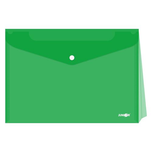 Obal s patentkou - rozšíriteľný PP/A4, priehľadný/zelený