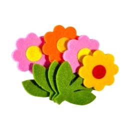 Dekoračné plstené kvety mix farieb, sada 4 ks