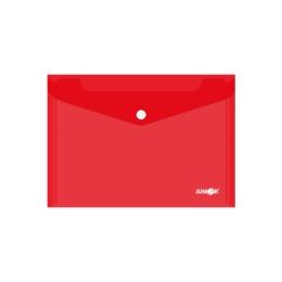 Obal s patentkou PP/A5, priehľadný/ červený