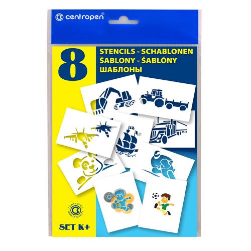 Šablóny papierové CENTROPEN 9996/K Motívy pre chlapcov, sada 8 ks