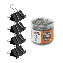 Klip Binder M&G - čierny (15 mm), bal.60 ks
