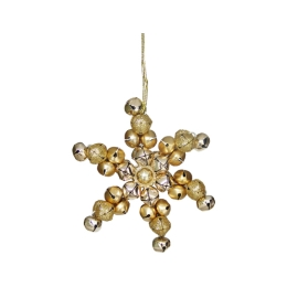 Dekorácia závesná - zlatá vločka z rolničiek 11 cm, 1ks
