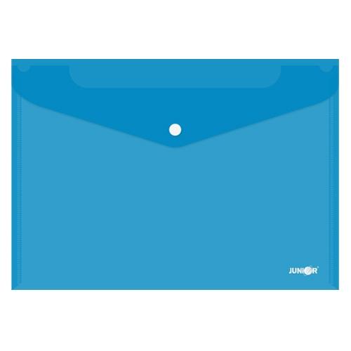 Obal s patentkou PP/A4, priehľadný/modrý