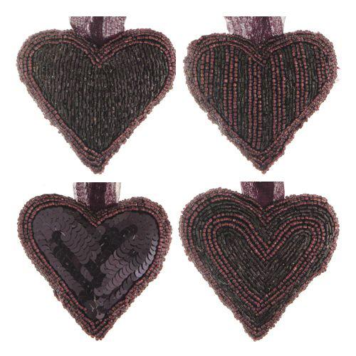 Dekorácia závesná - Srdce z korálok 9x9 cm, čierno/fialové, mix/1ks