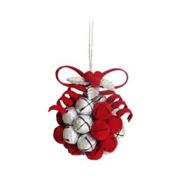 Dekorácia závesná - červeno/strieborná guľa z rolničiek 10 cm, 1ks