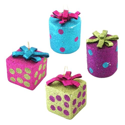 Vianočná ozdoba - PS mix farieb darčeky 9 cm, 1ks