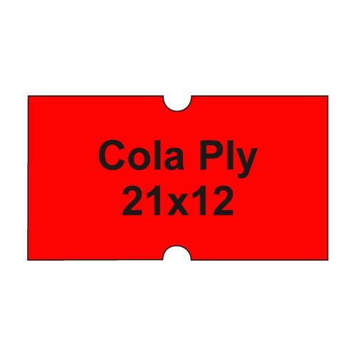 Etikety cen. COLA PLY 21x12 hranaté - 1250 etikiet/kotúčik, červené