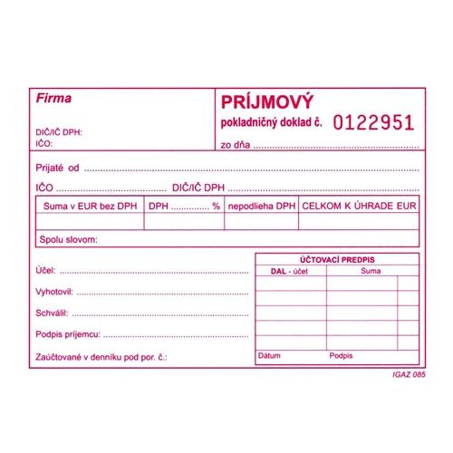 Príjmový pokl. doklad s DPH A6 číslovaný, samopr. (310)