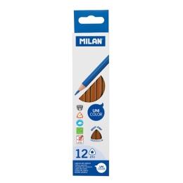 Pastelky MILAN Ergo Grip trojhranné 12 ks, Brown