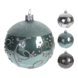 Vianočná guľa - sklenená, rôzne druhy 80 mm, 1ks