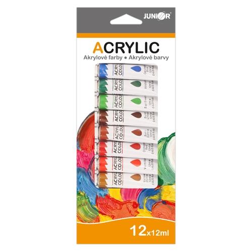 Farby akrylové 12 ml - sada 12 ks