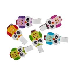 Dekoračné štipce Sova mix farieb, sada 6 ks