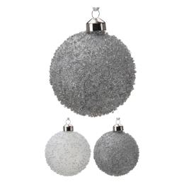 Vianočná guľa - sklenená 80 mm/bielo strieborná, mix/1ks