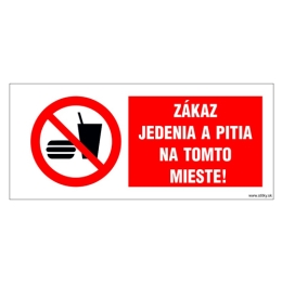 Etikety Info - Zákaz jedenia a pitia na tomto mieste 262x115 mm
