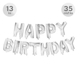 Balón narodeninový Happy Birthday 35 cm/13 ks, strieborný