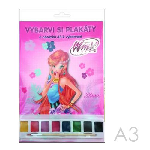 Omaľovánky A3 Akim plagátové /6ks/ - Winx Club s vodovými farbami