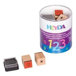 Drevené pečiatky v boxe - 15ks Matematika + poduška