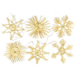 Vianočné ozdoby - slamené 7 cm, set 6ks
