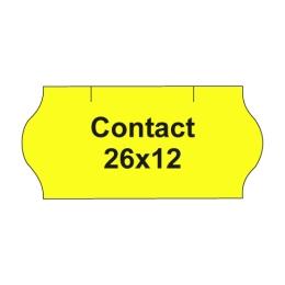 Etikety cen. CONTACT 26x12 oblé - 1500 etikiet/kotúčik, žlté